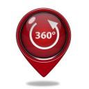 360 degrees pointer icon on white background